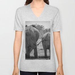 B&W Elephant Love Unisex V-Neck