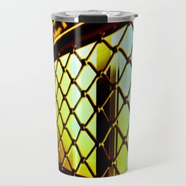 Abstract Cross Processed Sea Foam Green Metal Gate Store Shutter Travel Mug