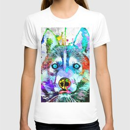 Husky Dog Watercolor Grunge T-shirt