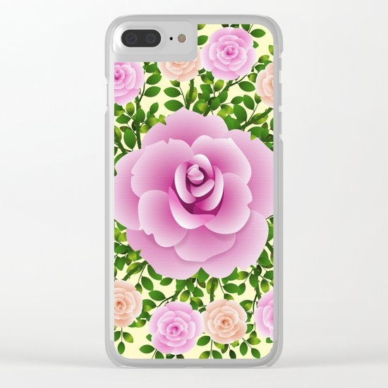 Pink Roses On Yellow Design Clear iPhone Case