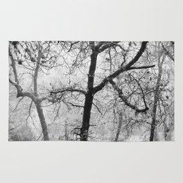 """""""Into the woods III"""". Foggy forest Rug"""