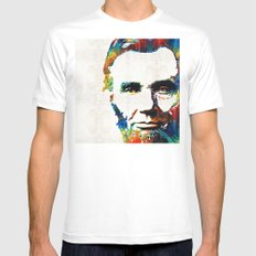 Abraham Lincoln Art - Colorful Abe - By Sharon Cummings White MEDIUM Mens Fitted Tee