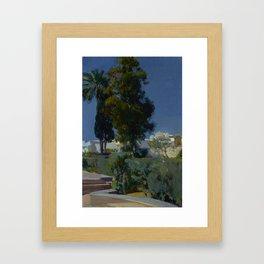Joaquín Sorolla y Bastida (Spanish, 1863 - 1923) Corner of the Garden, Alcazar, Sevilla, 1910, Oil Framed Art Print
