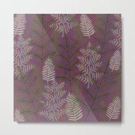 Ferns Purple Metal Print