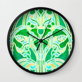 Art Nouveau Lime Green and Gold Batik Texture Wall Clock