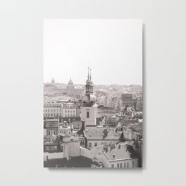 Prague Skyline Black and White version Metal Print