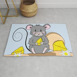 Cartoon Mouse with Cheese Rug