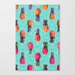 From Pineapple to Pink - tropical doodle pattern on mint Canvas Print