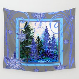 ORNATE BLUE-GREY WINTER SNOWFLAKES FOREST ART Wall Tapestry