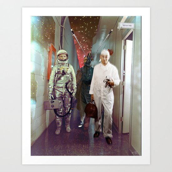 Space Check Collage Art Print