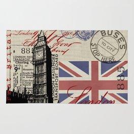 London Great Britain Big Ben Flag Collage #Society6Art Rug