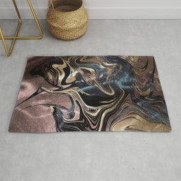 Marble Paint Swirl Trendy Abstract Glitter Rose Gold Pink Teal Turquoise Rug