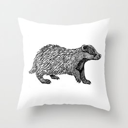 British Badger Zentangle Throw Pillow