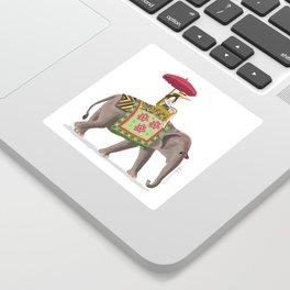 Woman on Elephant Sticker