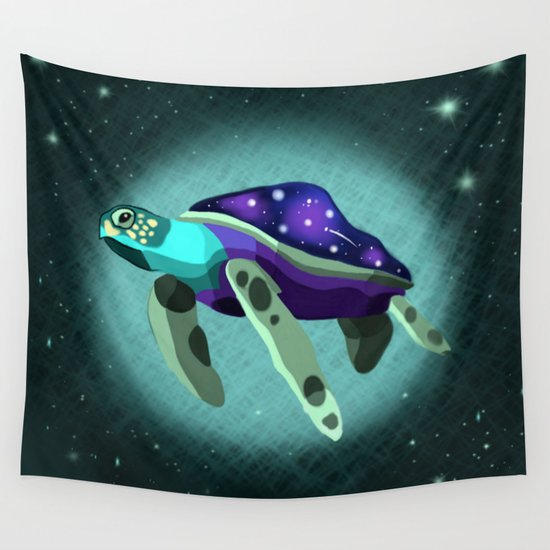 Space Turtle  Wall Tapestry