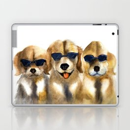 Yellow dogs  in funny glasses Laptop & iPad Skin