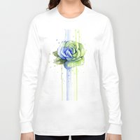 seahawks Long Sleeve T-shirts featuring Seattle 12th Man Seahawks Rose Watercolor Painting Art by Olechka