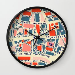 paris map blue Wall Clock