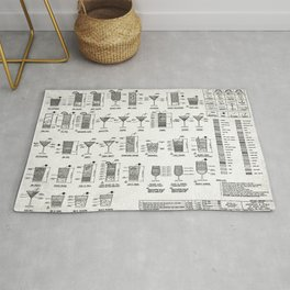 COCKTAIL poster, cocktail chart print Rug