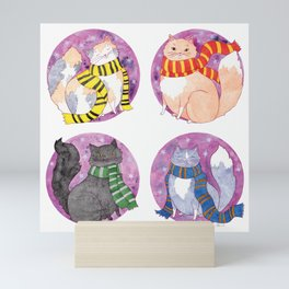 Magical Cats in House Scarves Mini Art Print