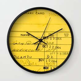 Library Card 23322 Yellow Wall Clock