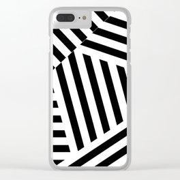 Black white block work Clear iPhone Case