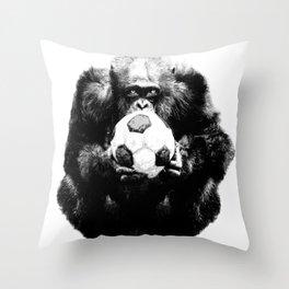 Soccer Chimp Throw Pillow