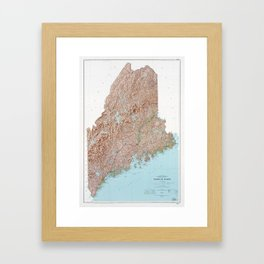 State of Maine Map (1977) Framed Art Print