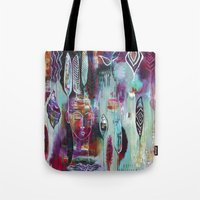 "flora bowley Tote Bags featuring ""Muse Dance"" Original Painting by Flora Bowley by Flora Bowley"