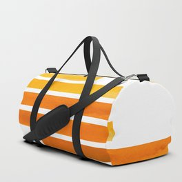 Orange Yellow Ocre Midcentury Modern Minimalist Staggered Stripes Rectangle Geometric Pattern Waterc Duffle Bag