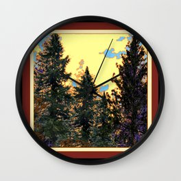 SUNNY DAY PINE TREES FOREST BROWN ART Wall Clock