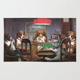 Dogs Playing Poker A Friend in Need Painting Rug