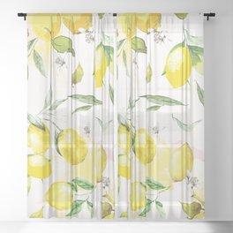 Watercolor lemons Sheer Curtain