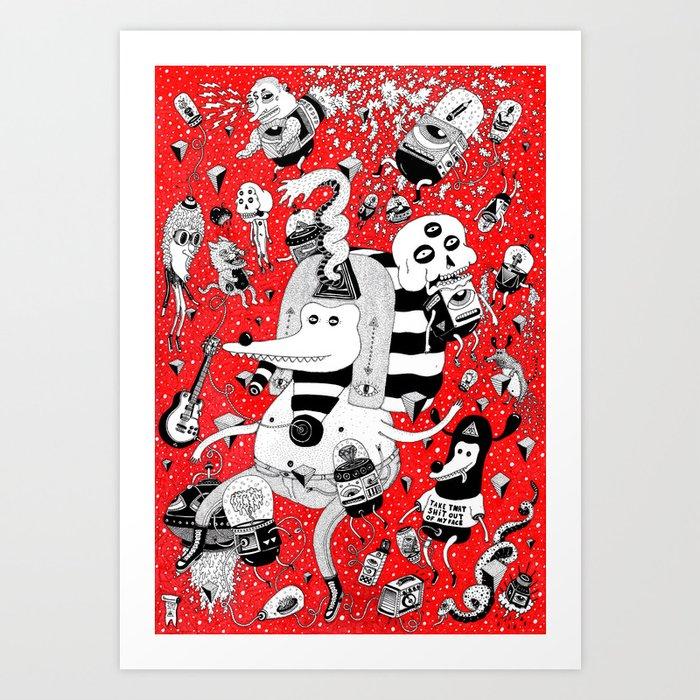 rot zeichentusche  Art Print