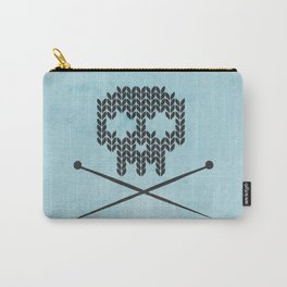 Knitted Skull (Black on Light Blue) Carry-All Pouch
