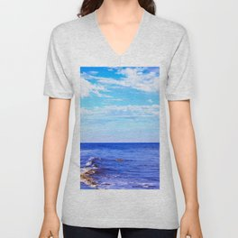 blue ocean view with blue cloudy sky in summer Unisex V-Neck