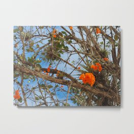 Flowers at Chichen Itza Metal Print