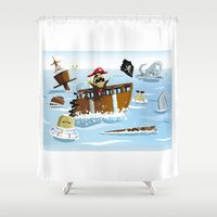 pirates Shower Curtains featuring Pirates by modernagestudio