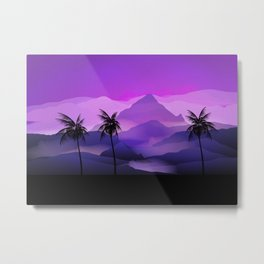 Silhouette of Palm Trees and the Mountains Metal Print