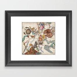 Vintage Constellation Map - Star Atlas Framed Art Print