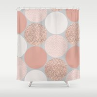 rose gold Shower Curtains featuring Rose Gold Dots by Georgiana Paraschiv