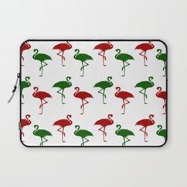 Flamingos Christmas Pattern Red Green Laptop Sleeve