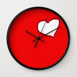 Red And White Heart Wall Clock