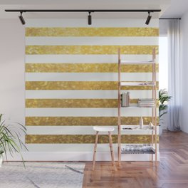 White and Gold Stripes  Wall Mural