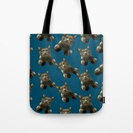 night sky skydiving funny flying cat Tote Bag