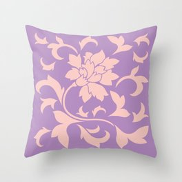 Oriental Flower - Strawberry Lilac Throw Pillow