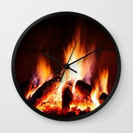 log fire Wall Clock