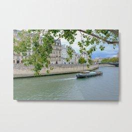 River Barge on Seine River in Paris France Metal Print