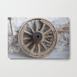 old wooden wheel in the farm Metal Print