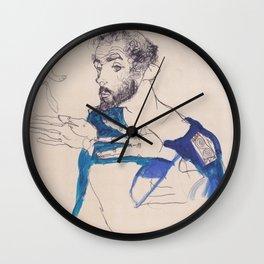 """Egon Schiele """"Gustav Klimt im blauen Malerkittel"""" Wall Clock"""